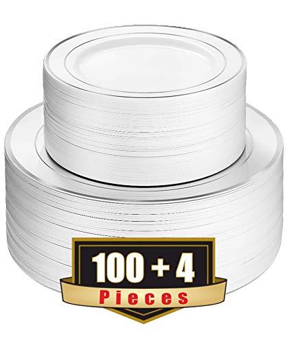 ADRISUN Silver Rim 104 Pieces Plastic Plates Set Disposable Plates Includes 52 Silver Rim Plastic Dinner Plates and 52 Silver Rim Plastic Dessert Plates plates disposable