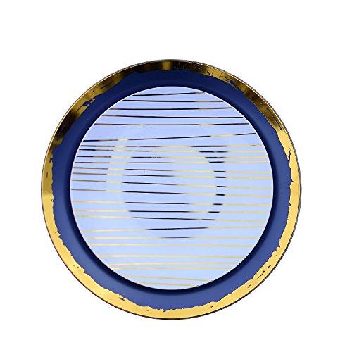 Trendables 40 - Pack Combo Premium Disposable Plastic Plates Food Grade Elegant Plastic Dinner Plates - Glam Design Includes 20 x 1025 Dinner Plates 20 x 8 SaladDesset Plates