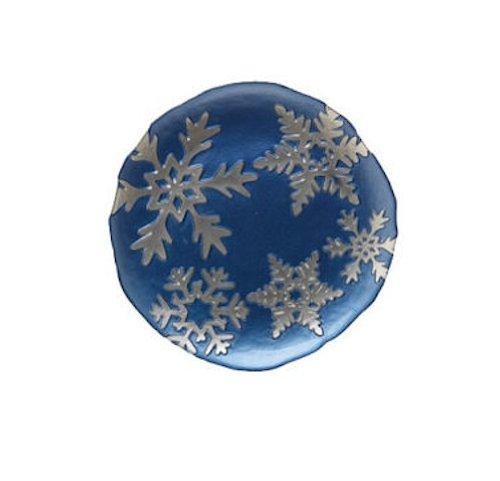Vietri Snowflake Blue Glass Salad Plate Italian Dinnerware