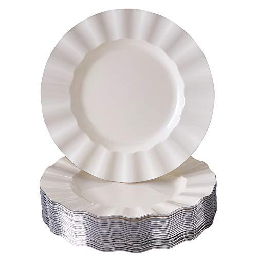DISPOSABLE SALAD PLATES  20 pc  Heavy Duty Plastic Dishes  Elegant Fine China Look  Veil - Ivory 875