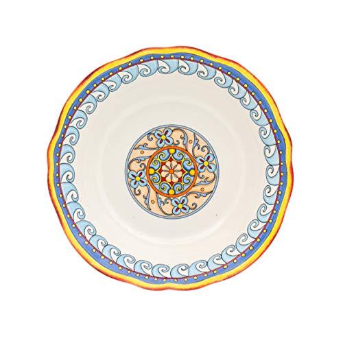 Euro Ceramica Duomo Collection Italian-Inspired 10 Round Ceramic Serving Bowl with Organic Edges Floral Design Multicolor