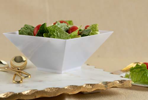 Majestic Settings Disposable White Square Plastic Serving Bowls 96 oz 5 Pack  Square Disposable Serving Bowls  Party Snack Bowls  Salad Serving Bowls WHITE SMALL 64 OZ WHITE MEDIUM 96 OZ