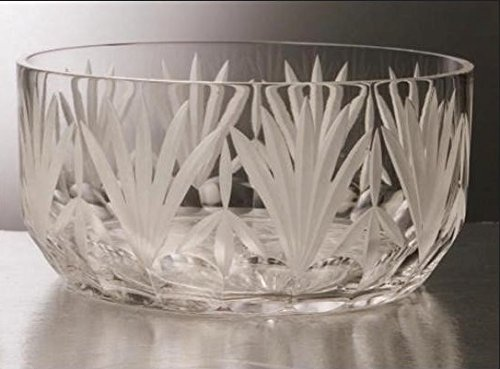 GAC Mouth Blown Large Glass Crystal Serving Bowl Perfect Fruit Bowl Round Salad Bowl