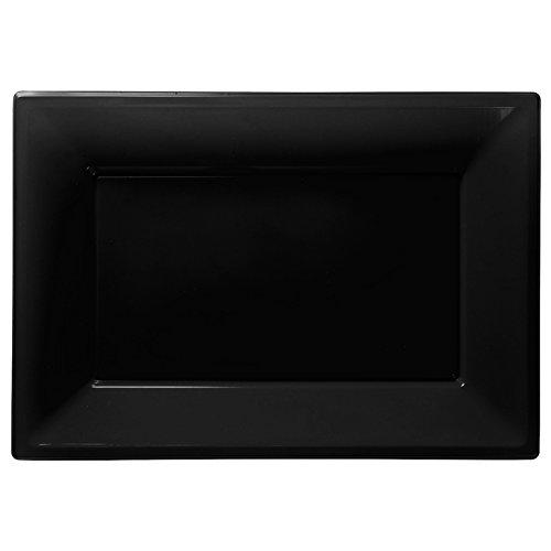 Amscan 3 Plastic Platters - Jet Black