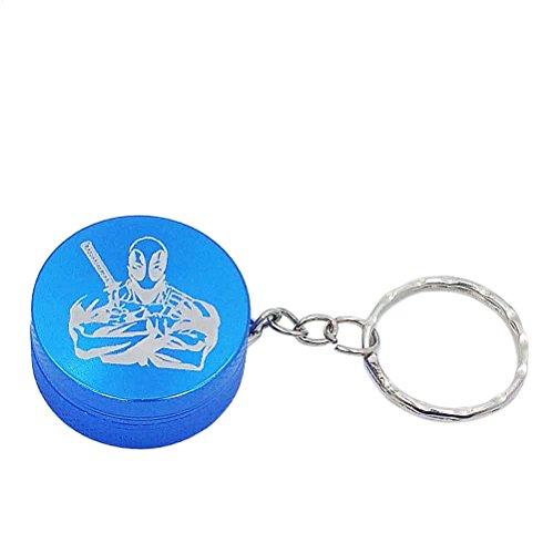 Deadpool Mini 2-Piece Metal Herb Spice Novelty Keychain Grinder - Miniature 125 Inch Size Blue