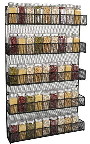 5 Tier Kitchen Wall Mount Spice Rack Organizer Large Kitchen Spice Storage Shelf Black