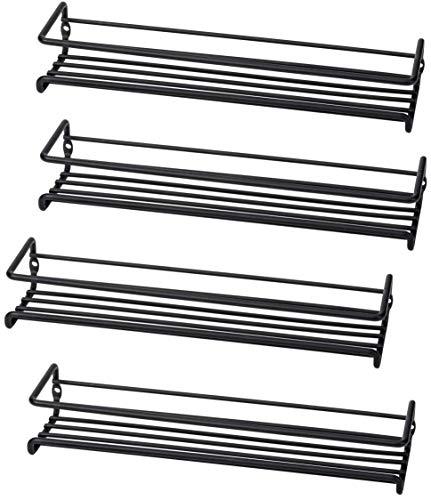 Set of 4 Wall-Mount Spice Rack Organizers - Metal Hanging Racks for Cabinet Door or Pantry Door- Over Stove Kitchen Cupboard Or Under Cabinet - by Unum