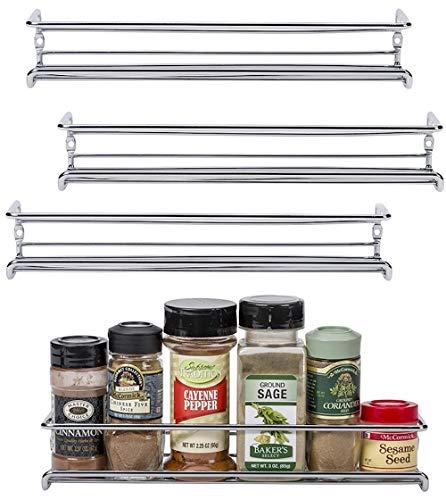 Unum Chrome Wall-MountCabinet Door Spice Rack x4 - Single Tier Hanging Spice OrganizersRacks - Pantry Kitchen WallCupboard Over Stove and Closet Door Storage - 11 38L x 3D x 2H
