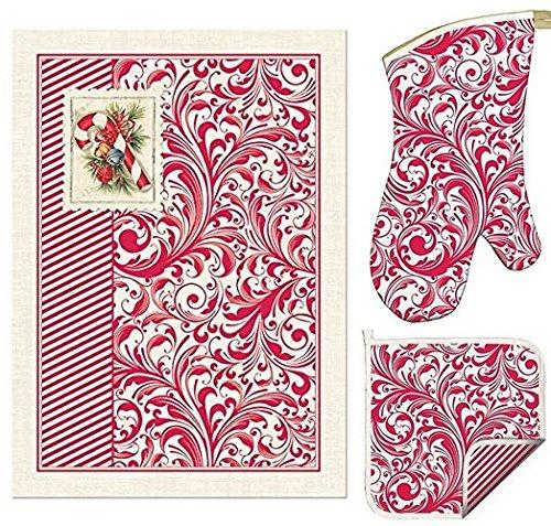 3-pc Michel Design Works Christmas Gift Set Candy Cane Kitchen Towel Oven Mitt Square Potholder --100 Cotton