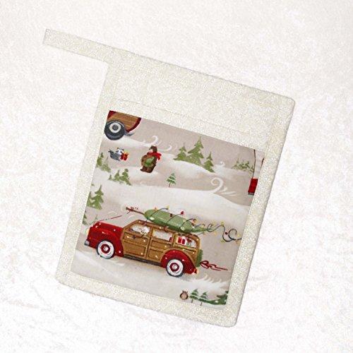 Christmas Potholder - Pocket Potholder - Hot Pad - Christmas Trees - Vintage Car - Woodie - RV Winter Scene