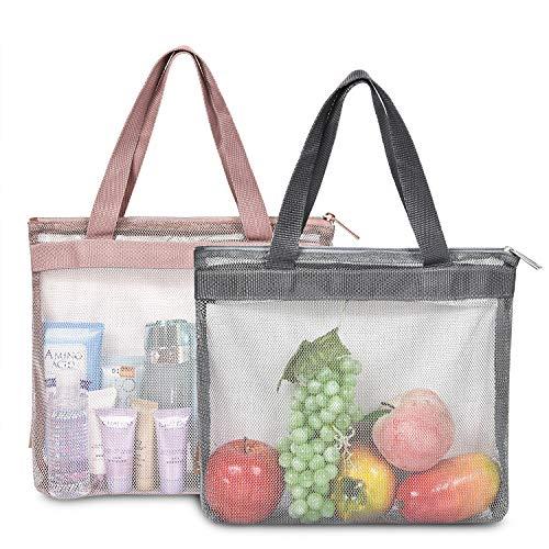 LOKASS Reusable Mesh Produce Bags Nylon Reusable Grocery Bags Small Mesh Beach Bags Durable Shower Caddies Breathable Seashell Bags for Beach for Beach Travel Set of 2 pcs Rose GoldGrey