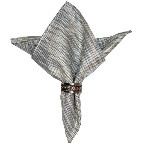 Set of Four Silver and Cream Metallic Cloth Napkin