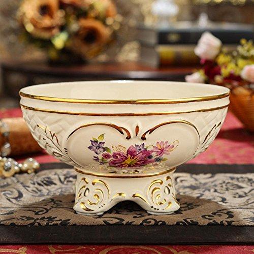 Daeou Fruit plate ceramic candy dish dried fruit plate round fruit bowl snack plate fruit bucket