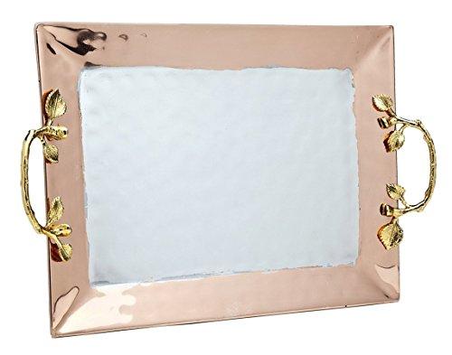 Godinger Silver Art Woodland Copper-plated Gold Leaf Square Serving Tray Platter