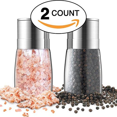 Salt And Pepper Grinder Set - Premium Stainless Steel Manual Mills - Adjustable Coarseness, Brushed & Elegant