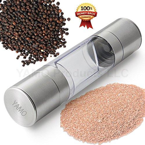 Yamo Salt & Pepper Mill Set 2 In 1 - Salt And Pepper Grinder Set With Adjustable Ceramic Grinding Mechanism -