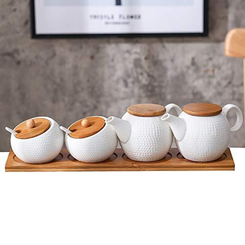 Ceramic Oil Vinegar Bottle Spice Pot Pepper Salt Pepper Pepper Dispenser Seasoning Bottle Set With Bamboo Wooden Tray Seasoning Box Set For Kitchen CookingC