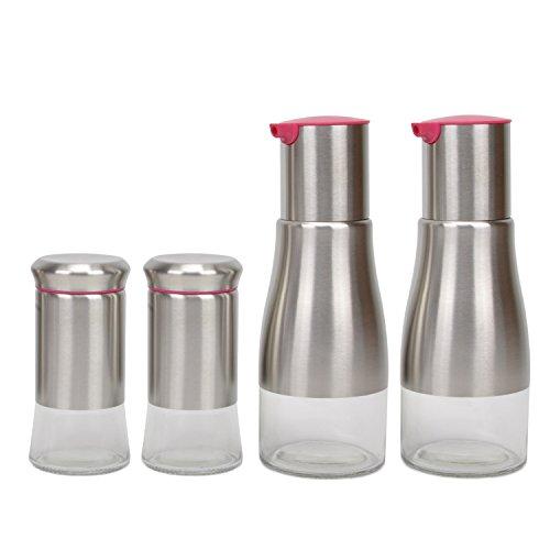 Evelyne Stainless Steel Cover Glass Bottle Oil Vinegar Salt Pepper Dispenser Shaker Cruet 4 pcs Set