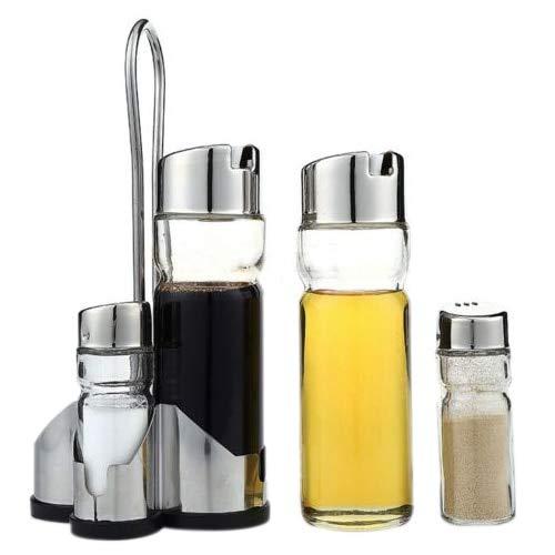 Set Spice - 5x Salt Pepper Oil Sauce Vinegar Dispenser Cruet Condiment Set Glass Container - Bottle Pepper Dispenser Olive Spout Copper Plastic Glass Condiment Kitchen Vinegar Container