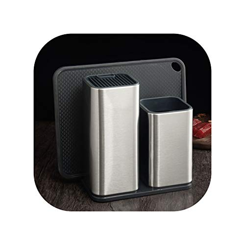 Easy-S-E-H Kitchen Cook Knife Set Holder Storage Stainless SteelC 3 Pcs Holder Set
