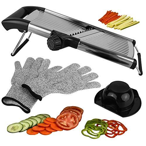 Mandoline Slicer Vegetable Potato Slicer Julienne Slicer Onion Cutter With Stainless Steel Adjustable Blade Cut Resistant Gloves Included