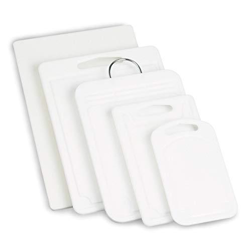 Grunwerg Deluxe Polyethylene Cutting Board-White with Metal Handle 25 x 36 x 12 cm