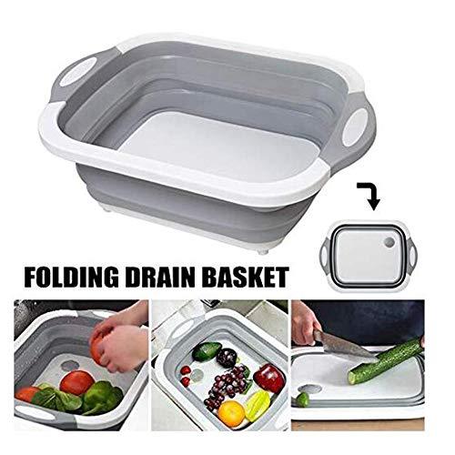 Activane Folding Cutting Board Plastic Washing Drain Basket Sink Food Basket Ice Bucket Multifunction Collapsible Kitchen GadgetGray