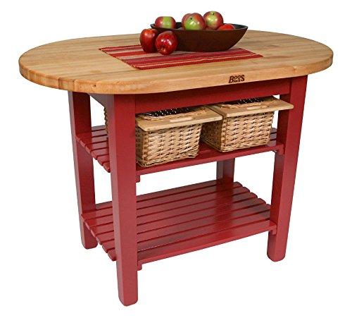 John Boos C-Elip Country-Style Elliptical Butcher Block Table - 60W 30D Two Shelves Caribbean Blue Base