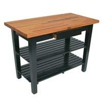 John Boos OC Oak Country Table - Blended Butcher Block Top 36W x 25D - Two Shelves Black Base