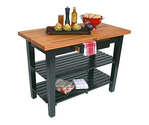 John Boos OC Oak Country Table - Blended Butcher Block Top 60W x 25D - One Shelf French Roast Base