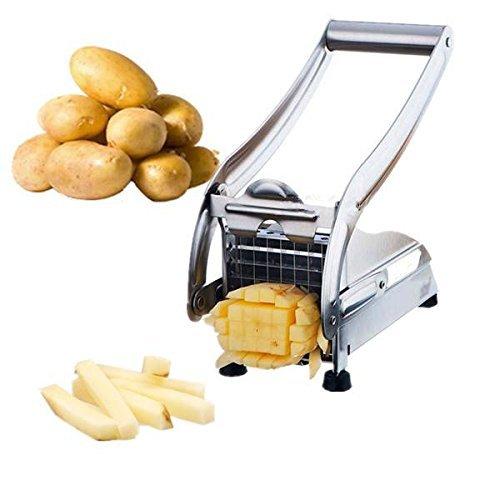 French Fry Cutter Potato Vegetable Slicer Chopper Dicer 2 Blades Stainless Steel