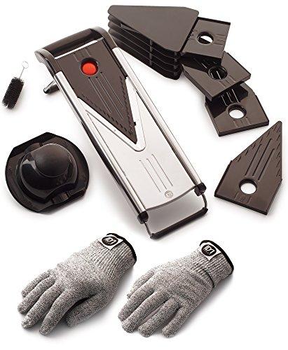 Mandoline Slicer–Julienne–Suitable for Vegetables and Fruits–V-Blade Bonus Cut-Resistant Gloves–5 Blades–Stainless Steel Cleaning Brush Safety Sleeve Holder by IDM Group