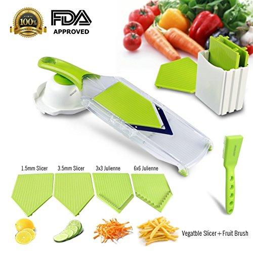 Mandoline SlicerAsscom Vegetable SlicerVegetable CutterCheese SlicerVegetable Julienne Slicer with Grade Stainless Steel Blades1 Kitchen V Slicer1 Vegetable Brush1 clean brush 4-Blade Slicer
