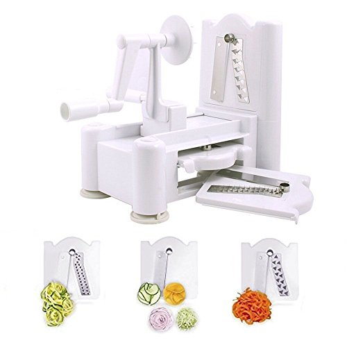 Spiralizer 3-Blade Vegetable Slicer Multi- function Hand-operated Zucchini spaghetti Cucumber ribbon strands Curly fries shredder