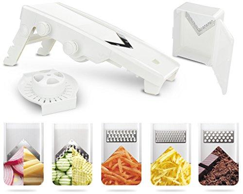 Surpahs V-Blade Mandoline Adjustable Slicer - 5 Stainless Steel Blades - Vegetable and Fruit Slicer Vegetable Shredder Spice and Nut Grater - Professional Grade - Includes Hand Guard and Blade Box
