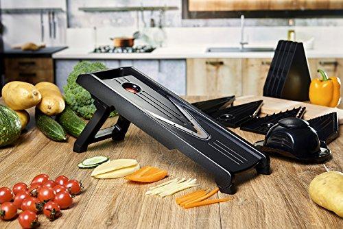 V-Blade Stainless Steel Mandoline Slicer Peeler Cutter and Julienne Best For Slicing Food Fruit and Vegetables Includes 5 Interchangeable Blades and Blade Safety Sleeve