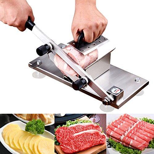 Frozen Meat Slicer Roll Meat Vegetable Meat Cheese Food Slicer Manual Frozen Meat Slicer Stainless Steel Beef Mutton Roast Slicing Machine Manual Gravity Slicer for Home Kitchen or Commercial
