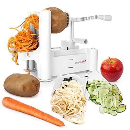 Simple Chef Vegetable Spiralizer - Vegetable Spiral Slicer - Includes Multiple Blades for Vegetable Noodles Pasta and Spaghetti