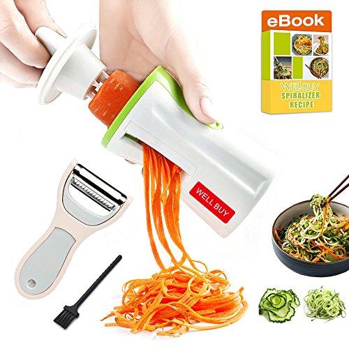 Spiralizer Vegetable Spiral Slicer 3 Blade - Well Buy Carrot Spiral Slicer Pasta Maker Zoodle Slicer Zucchini Veggie Spaghetti Maker - With Julienne Peeler Cleaning Brush Spiral Slicer Recipe Ebook