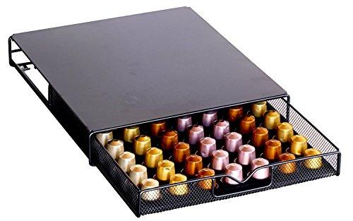 DecoBros Coffee Pod Storage Mesh Nespresso Drawer holder for 56 Capsules Black
