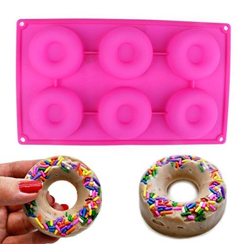 Delidge 6-cavity Bakery Kitchen Donut Molds Baking Pan (pink/6-cavity)