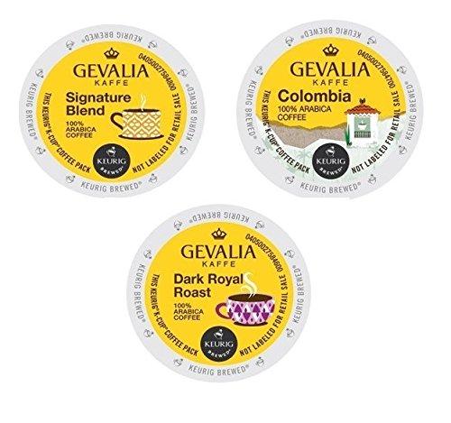 30 Count - Gevalia Variety K-Cup Coffee Packs For Keurig K Cup Brewer - Signature Blend Columbia Roast and Dark Royal Roast 3 flavors 10 K-cups each