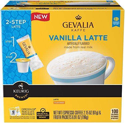 Gevalia 2‑Step Vanilla Latte Espresso Coffee K-cup 9 Count Pack Pack of 2