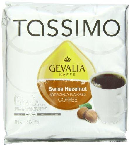Tassimo GEVALIA Swiss Hazelnut Coffee Medium 16 Count T-Discs Pack of 2