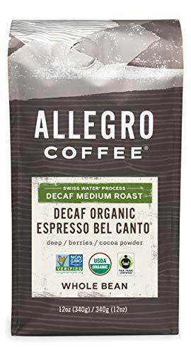 Allegro Coffee Decaf Organic Espresso Bel Canto Whole Bean Coffee 12 oz