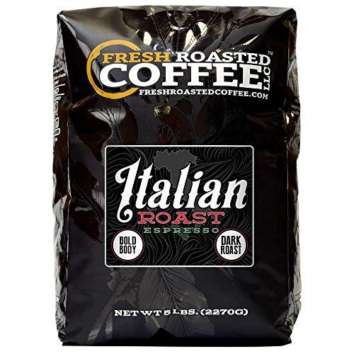 Fresh Roasted Coffee LLC Italian Roast Espresso Coffee Artisan Blend Dark Roast Bold Body Whole Bean 5 Pound Bag