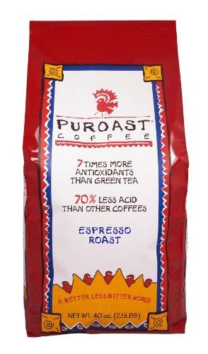 Puroast Low Acid Coffee Espresso Roast Whole Bean 25-Pound Bag