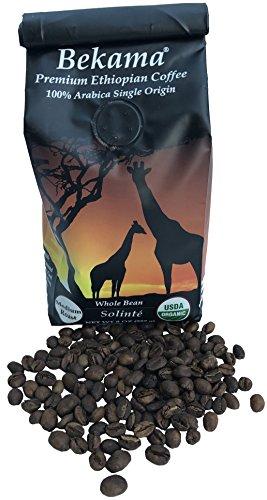 Bekama USDA Organic GMO-Free Premium Ethiopian Specialty Coffee 100 Arabica Single-Origin Traceable Hand Picked Whole Bean 8 Ounce