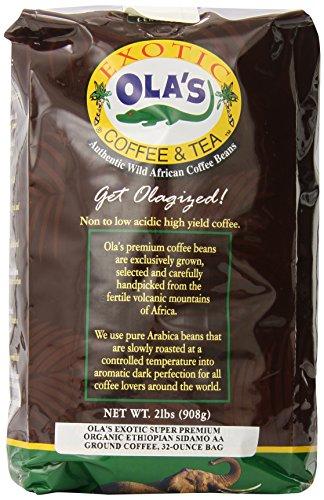 Olas Exotic Super Premium Coffee Organic Fair-Trade Sidamo AA Ground Coffee 32-Ounce Bag