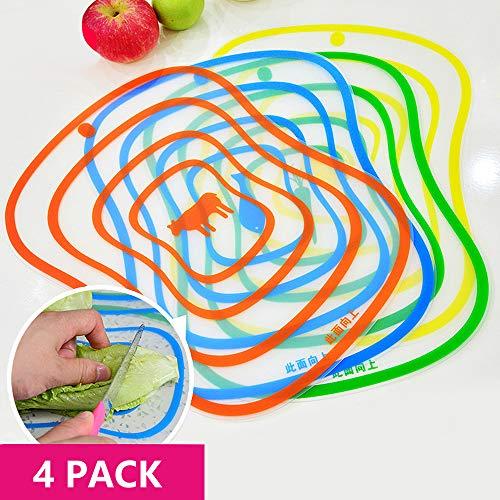 Flexible Plastic Cutting Board Mats setColorful Kitchen Cutting Board Set of 4 Colored MatsBendable and Wearable Soft Classification Cutting Board Non-Slip Anti-Leakage Juice(118×92)
